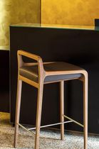 Contemporary bar stool / wooden / leather / upholstered