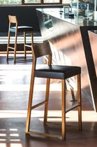 Contemporary bar chair / upholstered / sled base / oak