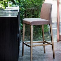 Contemporary bar chair / upholstered / fabric / wooden