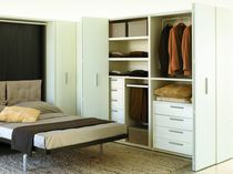 Modular wardrobe / corner / contemporary / wood