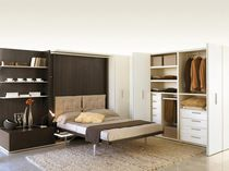 Double bed / wall / contemporary / wooden