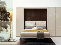 Double bed / wall / contemporary / wood