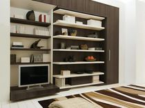 Contemporary TV wall unit / wood