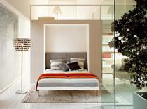 Double bed / wall / contemporary / fabric