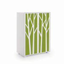 Tall filing cabinet / steel / wood veneer / with hinged door