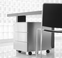 Steel office unit / 3-drawer / on casters