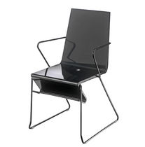 Contemporary chair / with armrests / sled base / steel