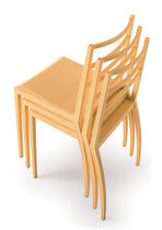 Contemporary chair / stackable / wooden