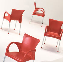 Contemporary chair / stackable / with armrests / polymer