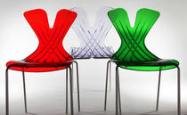 Contemporary chair / stackable / polycarbonate