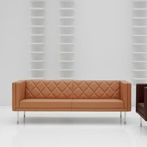 Chesterfield sofa / leather / stainless steel / commercial