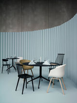 Contemporary dining table / plywood / aluminum / round