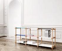 Low shelf / contemporary / oak / metal