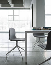 Contemporary visitor chair / swivel / star base / water-resistant fabric