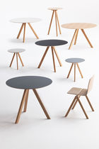 Contemporary table / oak / plywood / round