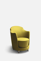 Contemporary visitor armchair / fabric / leather / beech