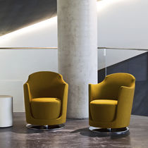 Visitor armchair / contemporary / swivel / fabric