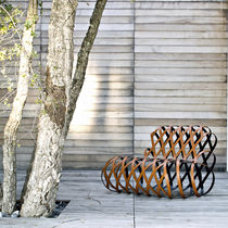 Original design fireside chair / leather / stainless steel / for public buildings