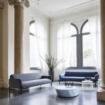 Contemporary sofa / leather / ash / wenge