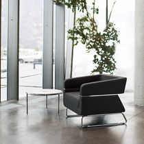 Contemporary armchair / sled base / metal / fabric