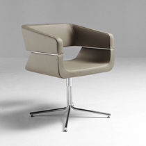 Contemporary chair / metal / fabric / leather