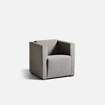 Contemporary visitor armchair / fabric / leather