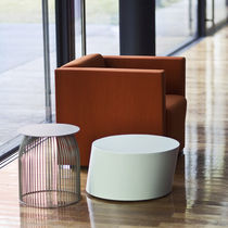 Visitor armchair / contemporary / fabric / leather
