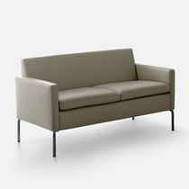 Compact sofa / contemporary / leather / metal