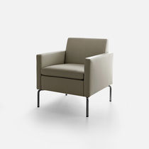 Contemporary visitor armchair / metal / fabric / leather