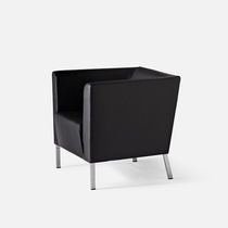 Visitor armchair / contemporary / on casters / metal