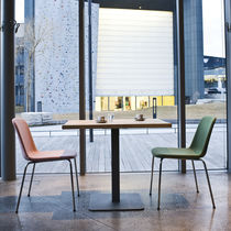 Contemporary chair / fabric / leather / chrome