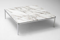 Contemporary coffee table / steel / marble / lacquered MDF
