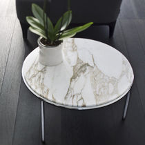 Coffee table / contemporary / steel / marble