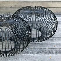 Original design pouf / steel / round / for public buildings