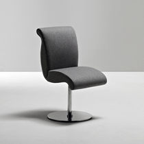 Contemporary chair / fabric / metal / leather