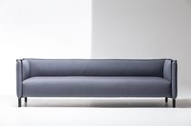 Contemporary sofa / fabric / leather / metal
