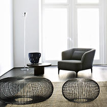 Contemporary armchair / with armrests / upholstered / fabric
