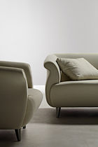 Contemporary sofa / leather / metal / fabric