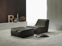 Contemporary fireside chair / fabric / orange / beige