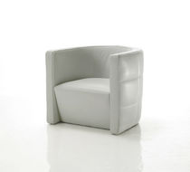 Contemporary armchair / leather / white / commercial