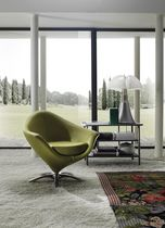 Contemporary armchair / metal / leather / star base