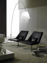 Contemporary fireside chair / leather / metal / with washable removable cover