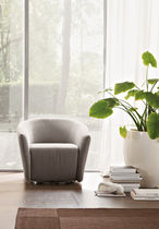 Contemporary armchair / steel / swivel / gray