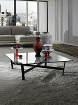 Contemporary table / glass / metal / square