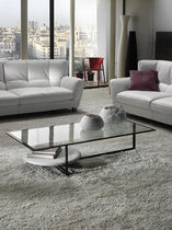 Contemporary coffee table / glass / metal / rectangular
