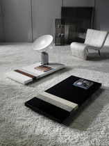 Contemporary table / leather / rectangular / black
