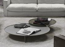 Contemporary coffee table / metal / round / black