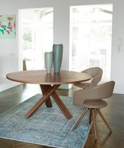Contemporary dining table / wooden / round