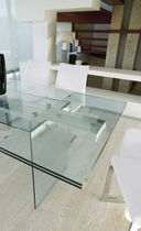 Contemporary dining table / glass / tempered glass / rectangular