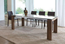 Contemporary dining table / glass / lacquered wood / tempered glass